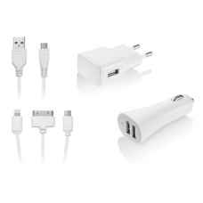 Multilaser Kit de Carregador 3 em 1 Micro USB IPhone 4 IPhone 5 CB068