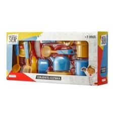 Conjunto Cozinha Brincando de Ser com Acessórios Indicado para +3 Anos Azul/Amarelo Multikids - BR956