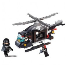 Blocos de Montar Policia Helicóptero de Combate 219 Peças Indicado para +6 Anos Material Plástico Colorido Multikids - BR834