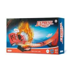 Pista de Corrida Fast Lane Express Wheels com 1 Carrinho e 7 Peças Indicado para +5 Anos Multikids - BR1020