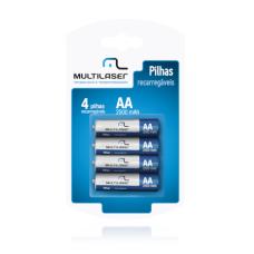 Multilaser Pack c/ 4 Pilhas AA Recarregáveis 2500 mAh CB052