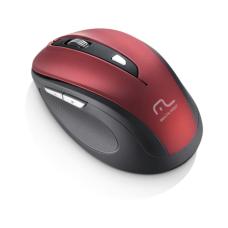 Mouse Sem Fio 1600Dpi USB 6 Botões Preto e Vermelho Multilaser - MO239